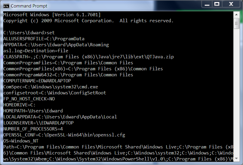 list of environment variables in Windows command prompt