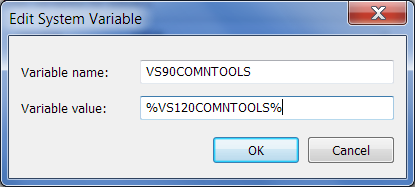 setting vs90comntools environment variable