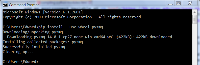installing a python module from a wheel on the windows command line